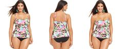 Kenneth Cole Reaction Plus Size Floral-Print Tankini Top & Banded Bikini Bottom