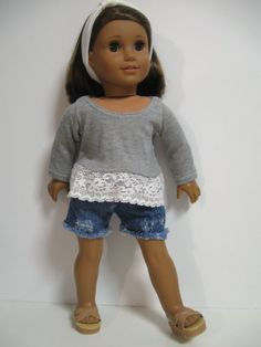 American Girl Doll Clothes Denim and lace by 123MULBERRYSTREET, $25.00