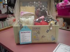 Take Time to Travel Auction Basket - love that they put it in a vintage suitcase!