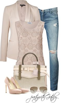 spring flowers, fashion, jeans style, jackets, dress up, blazers, polyvore, office outfits, cream