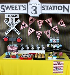 "Train Theme Party. If my babies love ""choo-choos"" as much as my nephew, I'll need this some day!"
