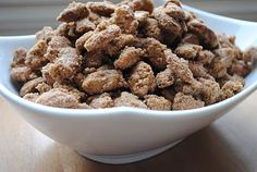 Cinnamon Roasted Almonds:  4 cups almonds  1/2 cup sugar  1/2 cup brown sugar  1 egg white  1 1/2 tsp vanilla extract  2 tsp cinnamon  1/2 tsp salt
