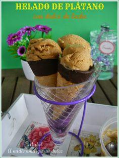 #Receta de helado de plátano con dulce de leche.