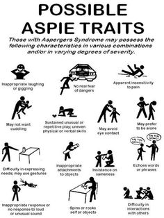 Just a few aspie traits and not all aspies will have the same traits.