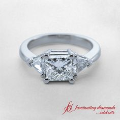 Trinity Ring || Princess Cut Diamond Three Stone Ring With White Diamond In 14K White Gold