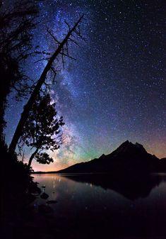 Milky Way over Grand Teton Mountain Range, Grand Teton National Park,Wyoming