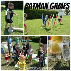 Batman Birthday Party! unfreeze batman with water guns, super hero training- barbell with styrofoam and dowel. giant roll of packing bubbles to make hero sounds, pow, bam ect. hero sub sandwiches. themed birthday parties, birthdays, batman parti, batman birthday party games, batman party, superhero birthday games, batman birthday games, parti idea, birthday kids
