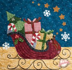 Blessings of Christmas block-of-the-month quilt by Shabby Fabrics, close up of sleigh, seen at Pretty by Hand