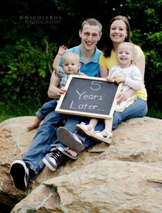 Anniversary photo: Cute idea for when kiddos come into our lives!