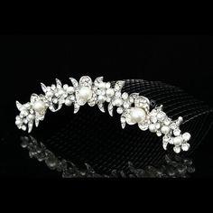 Bridal Wedding Rhinestone Crystal Pearl Flower Prom Party Tiara Comb V816