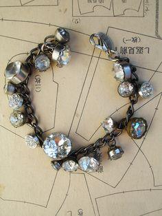 Rhinestone Button Bracelet Number 5. $90.00, via Etsy.