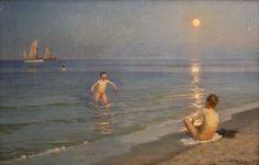 Peder Severin Krøyer - Danish painter, 1851-1909: Boys bathing on a summer evening at Skagen Beach