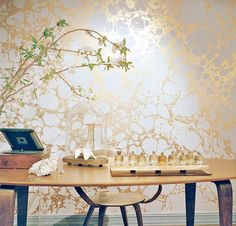 Calico Wallpaper at Rosanne Pugliese's Brooklyn Brownstone Jewelry + Lifestyle Shop #wallpaper #gold #metallic #marble #marbleized