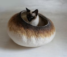 Cat Bed / Cave / House / Vessel - Hand Felted Wool - Latte Bubble Stone - Crisp Contemporary Design. $75.00, via Etsy.