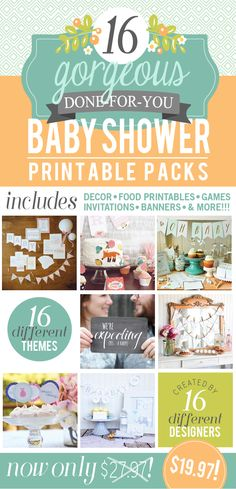 Baby Shower Printable Pack - 16 adorably themed baby shower printable packs! That's 440 charming pages to help celebrate a new addition! #bestbabyshower