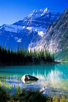 Cavell Lake and Mount Edith Cavell. Jasper National Park, ALberta, Canada.