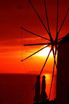 Windmill at sunset, Oia, Santorini, Greece
