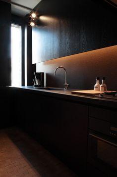 kitchen by the Antwerp basedCo.studio christian, cozy kitchen, natural stones, black kitchens, kitchen design, tiny spaces, interior architecture, light, white kitchens