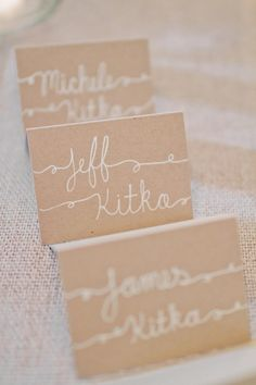 caligraphy - escort cards