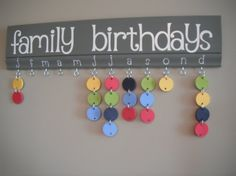 Family Birthdays Board