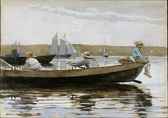 Winslow Homer (American, 1836–1910). Boys in a Dory, 1873. The Metropolitan Museum of Art, New York. Bequest of Molly Flagg Knudtsen, 2001 (2001.608.1)   This watercolor demonstrates Homer's ability to capture the scintillating effects of dazzling sunlight, rippling water, and luminous atmosphere in boat-filled Gloucester Harbor.