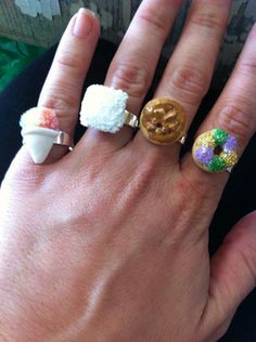 """Fleurty Girl NOLA Sweets adjustable ring, just realized they carry these. I think we are off to the nearest """"Fleurty Girl"""" shop. I need a king cake ring! Or maybe a sno ball one. Decisions, decisions..."""