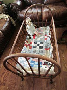 1800's Antique Wood Baby Cradle Bassinet Bed Wooden Wheels Doll Quilt Display | eBay