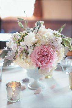 hydrangea and peony centerpiece, photo by Hazelwood Photo http://ruffledblog.com/north-star-ballroom-wedding #centerpieces #flowers