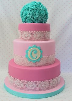 Vintage shabby chic birthday By jo3d33 on CakeCentral.com vintage shabby chic, lace cakes, smash cakes, girl birthday cakes, colors, birthdays, monogram, aqua, cream