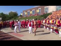 Iowa State University Cyclone Football 'Varsity' Marching Band's Drumline playing Cowbell.