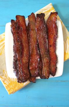 Baked Maple Glazed Bacon - Sweet and savory baked bacon with a maple syrup candied glaze.