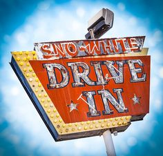 Sno-White Drive In vintage neon sign