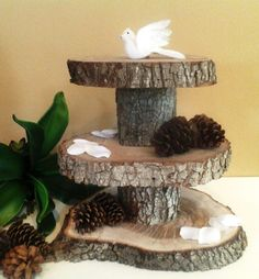 TREASURY ITEM -  3 Tier -  Rustic Wedding Oak tree trunk  Cake Stand , Cupcake stand, Display stand on Etsy, $195.00