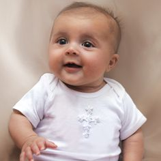 White Baby Onesie with Cross, $22.75.