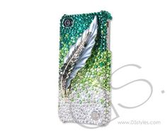 Feather Bling Swarovski Crystal Phone Case - Green  http://www.dsstyles.com/brands/feather-bling-swarovski-crystal-phone-case-green.html
