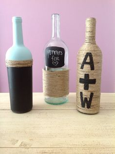 Decorative Wine Bottles by AllyssaKate on Etsy, $10.00. DIY totally trying this for spare change!