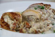 Mushroom stuffed chicken breasts