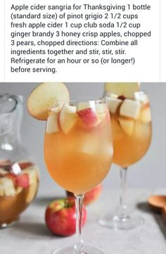 Apple Cider Sangria! Substituted the brandy but otherwise delicious!