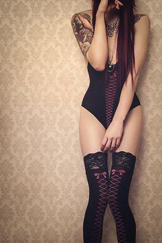 siren, tattoo women, fashion, lingerie, nylon, heels, beauty, ink girl, black