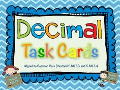 Common Core Decimal Task Cards.  60 Task Cards for practicing expanded form, standard form, word form, rounding, and comparing decimals. $