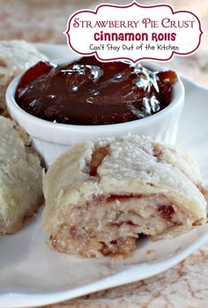 Strawberry Pie Crust Cinnamon Rolls | Can't Stay Out of the Kitchen | lovely #cinnamonrolls for #breakfast or #dessert. This one uses a homemade #piecrust. #strawberryjelly