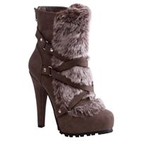 Fur Front Taupe Ankle Boot @ Althea's Footwear