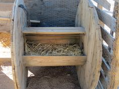Taking an electrical spool and made an outdoor laying box for my chickens. They use it as a perch and  shade.