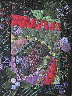 Crazy Quilt block- Grapes, by Denise M. Enberg. 5x7 inches