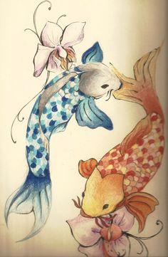 Beautiful koi fish design. Google. C: Koi Fish Tattoo, Wall Art, Pisc, Color, Koifishtattoo Design, Garden Ponds, Back Tattoos, Tattoo Fish Koi, Tattoos Koi