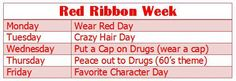 Red RIbbon week calender