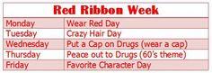 Red RIbbon week calender