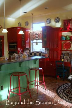 Elizabeth's Red Kitchen and Curtain Makeover