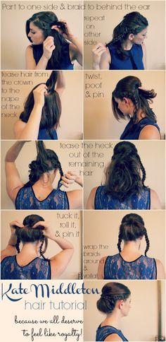 diy hairstyles, hair tutorials, bridesmaid hair, new hair, hairstyle ideas, hairstyle tutorials, princess hairstyles, kate middleton, updo