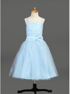 A-Line/Princess Tea-Length Satin Tulle Flower Girl Dress With Ruffle Sequins from JJ's House, Bridal & bridal accessories.  www.jjshouse.com